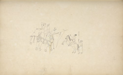 Equestrian figures. Wall painting at Anegondi, January 1801
